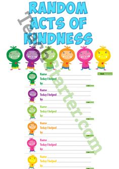 Random Acts of Kindness Display Teaching Resource Interactive Bulletin Boards, Ra Bulletin Boards, Health Education, Physical Education, Calendar Organization, Life Paint, Motivational Gifts, Employee Gifts, Card Patterns