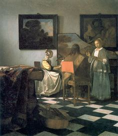 """Jan Vermeer, The Concert, c. 1664, oil on canvas, 28½"""" x 25½"""", stolen from the Isabella Stewart Gardner Museum, Public Domain via Wikimedia Commons."""
