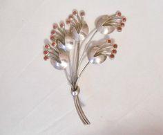 1940's Sterling Silver Garnet Red Rhinestone Floral Bouquet Brooch by Libbysmomsvintage, $30.00