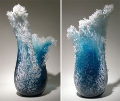 Majestic Ocean Wave Vases By Hawaiian Artist Duo, Marsha Blaker, Paul DeSomma, interior design, home decor, home accessories, vases