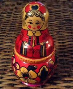 USSR(Russian) Wooden Folk Hand Painted Shaker Nesting Doll Style