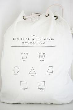 Laundry symbol translations, right on your laundry bag. Brand Packaging, Packaging Design, Branding Design, Pretty Packaging, Packaging Ideas, Swing Tags, Grafik Design, Label Design, Bag Design