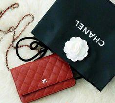49edd4bb15dac2 Merry Christmas 2016 Chanel Wallet on Chain in Vibrant Red. Tag Designer  Handbags