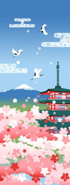 Japanese Tenugui Cotton Fabric, Five Storied Pagoda, Mt.Fuji & Cherry Blossom, Hand Dyed Sakura Fabric, Spring Art Wall, Wall Decor, h322
