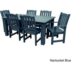 Highwood Marine-grade Synthetic Wood Lehigh 7-piece Rectangular Dining... ($2,430) ❤ liked on Polyvore featuring home, outdoors, patio furniture, outdoor patio sets, blue, antique white dining set, outdoor wood furniture, wooden dining set, outdoor dining sets and wooden outdoor furniture