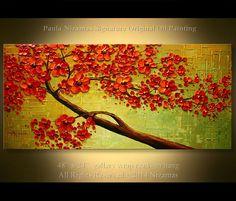 Pintura sobre lienzo rojo florece árbol textura gruesa de