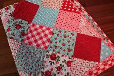 Vintage Red & Aqua Baby Girl Quilt by TheTabbieandThePea on Etsy, $65.00