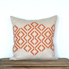 Geo Diamond Pillow Cover - Lt. Natural / Burnt Orange