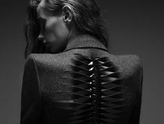 Skeletal jacket detail with artful cut & twist structure; fabric manipulation // Dion Lee SO COOL Dark Fashion, Fashion Art, High Fashion, Fashion Design, Fashion Trends, Fashion Fabric, Fashion News, Dion Lee, Look Dark