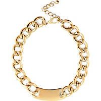 Gold tone curb chain tag necklace