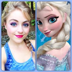 Elsa inspired makeup! So going to do this, but with more berry and less neon fuschia.