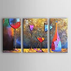Hand-Painted AbstractTraditional Modern Three Panels Canvas Oil Painting For Home Decoration 2248861 2017 – $107.99