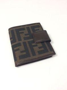 "Rare Fendi Zucca Bifold Card Holder Case Brown Canvas ""F"" Logo | Size S"