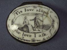 Antique Bilston Enamel Patch Snuff Box w Motto Scene Mirror Love Box, Curiosity Shop, Lord Is My Shepherd, Bottle Box, Pretty Box, Tiny Dolls, Saint Valentine, Pill Boxes, Tiny Treasures