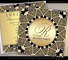 Tribal Sun Vintage Golden Dinner Party Invitations by Webgrrl.biz @ Paperstation #zazzle