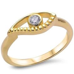 Yellow Gold Plated Cz Evil Eye .925 Sterling Silver Ring Sizes 4-9