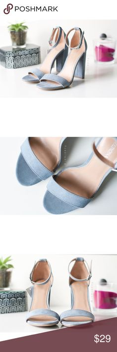 "Merona | NWT ""Lulu"" Ankle Strap Block Heel Sandals Dusty pale blue ankle strap chunky block heel sandals from Merona. Brand new with tag. Never worn. No box. Size 6, true to size. Heel = 4-inches. Price is firm. No trades. Bundle for discount. Merona Shoes"