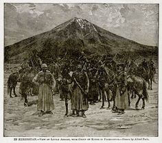 "In Kurdistan - View of Little Ararat with Group of Kurds in foreground. Illustration from ""With the World's People"" by John Clark Ridpath (Clark E Ridpath, Arabian Art, History Images, Writers And Poets, State Of The Union, Historian, Old Pictures, Digital Image, The Originals, World"