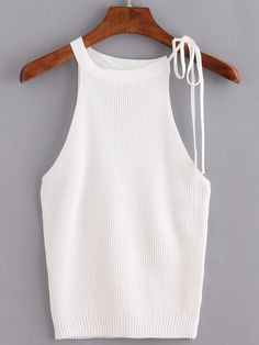 To find out about the Beige Lace Up Ribbed Tank Top at SHEIN, part of our latest Tank Tops & Camis ready to shop online today! Crochet Tank Tops, Iranian Women Fashion, My Unique Style, Summer Knitting, Tank Top Shirt, Blouse Designs, Knitwear, Cute Outfits, Lace Up