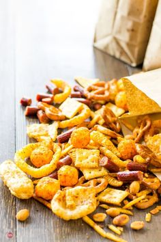 Fall Snack Mixes, Fall Snacks, Trail Mix Recipes, Snack Mix Recipes, Spicy Party Mix Recipe, Fall Trail Mix Recipe, Savory Snacks, Yummy Snacks, Kitchens