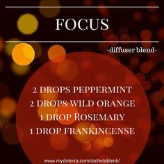 Diffuse this blend of essential oils while studying to promote clarity and focus. #essentialoils #doTERRA #diffuserblend