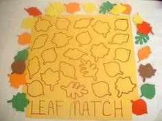 Pairer des feuilles d'automne avec leur silhouettes. Vie sensorielle: observation.