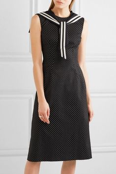 Dolce & Gabbana - Crystal-embellished Polka-dot Cotton-blend Twill Dress - Black - IT46