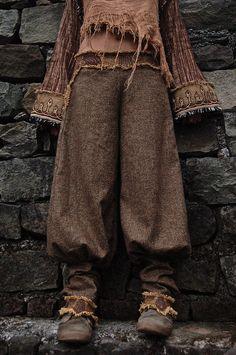 Lana mujer pantalones pantalones con el bordado Maya Azteca