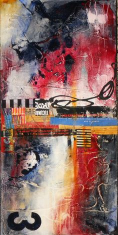 Abstract Acrylic Collage Painting, Mixed Medium on Canvas, Original Wall Art,  Titled:  URBAN DECAY 3, 12 x 24