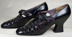 BLACK LEATHER 1910's VINTAGE PUMPS - TEAR-DROP CUT-OUTS - JERRY EDGUARD - ESTIMATED SZ. 6 1/2 - SOLD at rpvintage.com