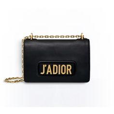 J'ADIOR FLAP BAG WITH CHAIN IN BLACK CALFSKIN ❤ liked on Polyvore featuring bags, handbags, chain purse, calfskin bag, calf leather handbags, chain handbags and calfskin leather handbags
