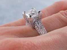 3.00 CT TW PRINCESS CUT DIAMOND ENGAGEMENT RING E SI2