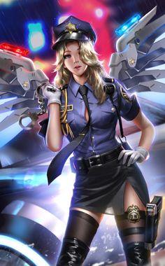 Officer Mercy - Overwatch fan art by Liang xing