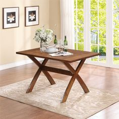 Dorel Living Trestle Wood Dining Table - Overstock™ Shopping - Great Deals on dorel asia Dining Tables