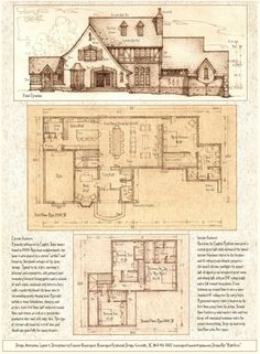 Front Elevation, first and second floor plans. Description of this home on the plan. Technique: These three drawings are on one 8 and a half by 11 inch page (A4 size). The two floor plans are drawn...