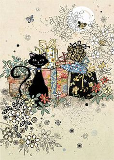 Black Cat with Flowers &  Presents Card by Bug Art