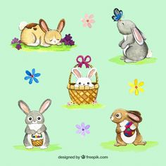 Set of watercolor bunnies and flowers Free Vector