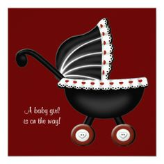 Red Baby Carriage Baby Girl Shower Invite
