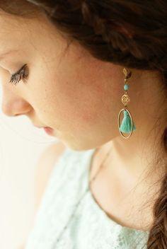 Boucles d'oreilles turquoise/ boucles d'oreille pompons/ bijoux printemps/ bijoux turquoise/ bijoux pompons