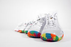 Nike Foamposite limited edition inspired by Fruity Pebbles. Nike Foamposite, Foam Posites, Kids Sneakers, Footwear, Inspired, Inspiration, Shoes, Biblical Inspiration, Zapatos