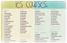 liste de courses à imprimer French Expressions, Creme Fraiche, Fitness Magazine, Life Organization, Organizing Life, French Food, Filofax, Healthy Skin, Menu Planners