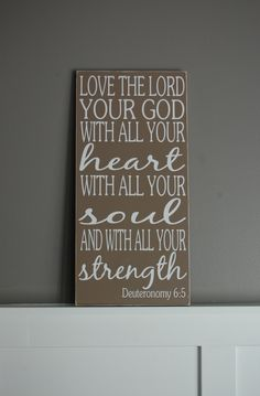 Deuteronomy 6:5 Love the Lord Christian Scripture Subway Art Wooden Sign Painting Inspirational.