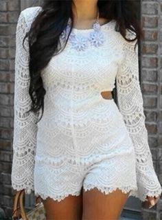 Long Sleeve Hollow Out Lace Romper