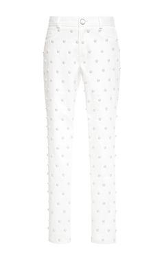 Pearl-Embellished Cropped Jeans by Oscar de la Renta - Moda Operandi