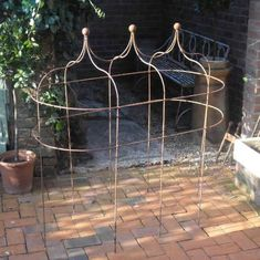 Triple Iron Pavilion Obelisks in Plant Supports from The Vintage Garden Company