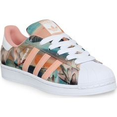 Love these! ADIDAS Superstar 2 trainers found on Polyvore featuring polyvore, fashion, shoes, sneakers, adidas, clothing, dust pink farm print, rubber shoes, print sneakers and adidas sneakers