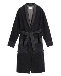 RENO - Denim robe coat - Washed black Cool Wraps, Denim Coat, Black Denim, Vegan Leather, Model, How To Wear, Collection, Fashion, Moda