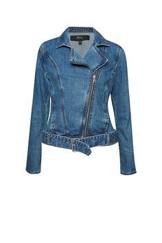 The Phillipa Denim Biker Jacket is a biker inspired denim jacket. This biker jacket has zip and buckle details with adjustable waist belt feature. Pair over a classic tee. Denim Biker Jacket, Blue Denim, Vest, Jackets, Clothes, Fashion, Down Jackets, Outfits, Moda