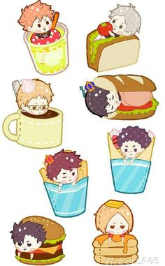 Chibi as food Chibi Anime, Kawaii Chibi, Cute Chibi, Manga Anime, Haikyuu Funny, Haikyuu Fanart, Haikyuu Anime, Haikyuu Karasuno, Anime Stickers