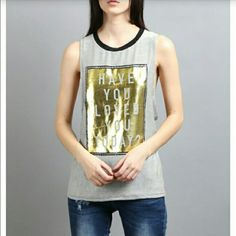 Have U Loved U Today Gold Foil Graphic Muscle Tee ??New Arrival??  ??Black/White Striped Gold Foil Graphic Muscle Tank  ??Sizes Available: Small, Medium & Large??  ??No Trades Price Firm?? Tops Muscle Tees